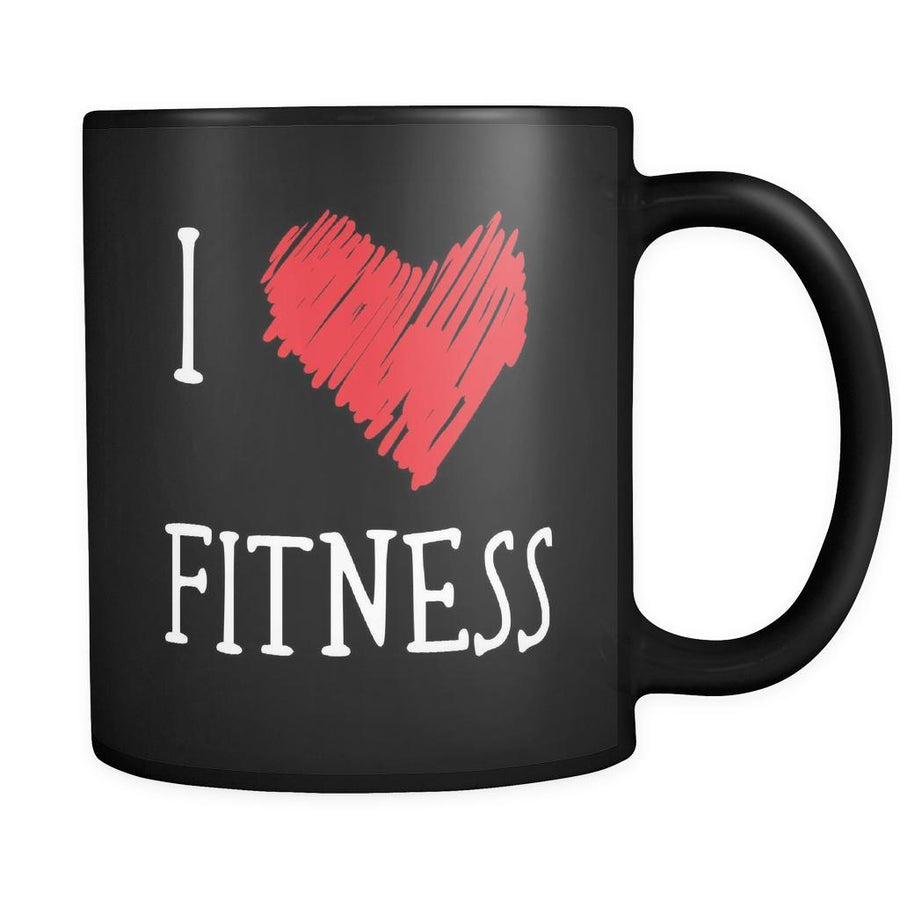 Fitness I Love Fitness 11oz Black Mug-Drinkware-Teelime | shirts-hoodies-mugs