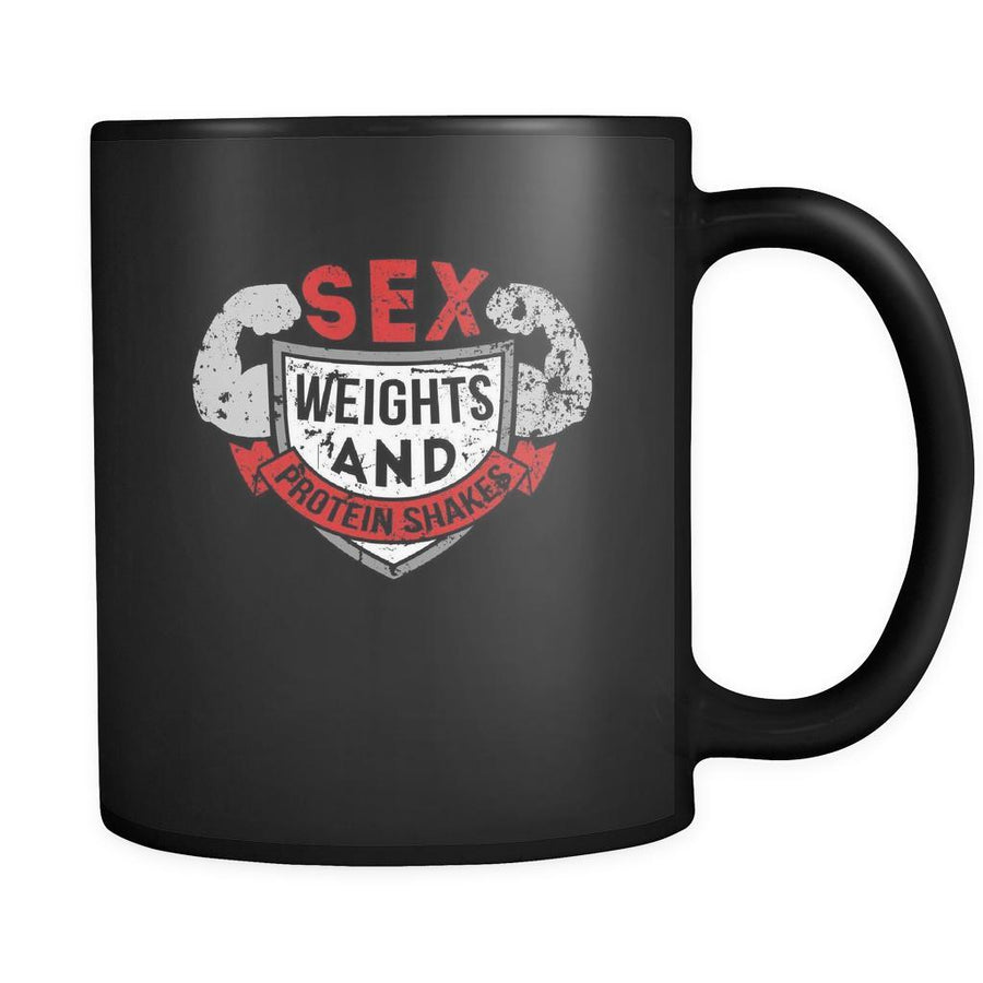 Fitness Sex weights and protein shakes 11oz Black Mug-Drinkware-Teelime | shirts-hoodies-mugs
