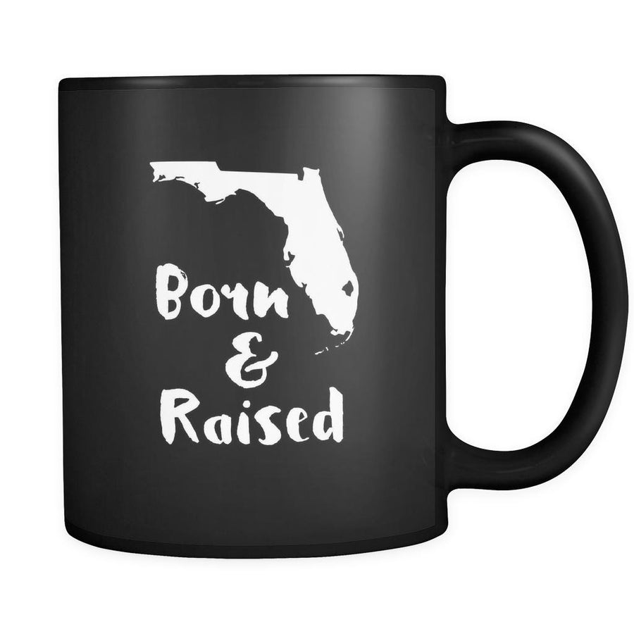 Florida Born & raised Florida 11oz Black Mug-Drinkware-Teelime | shirts-hoodies-mugs