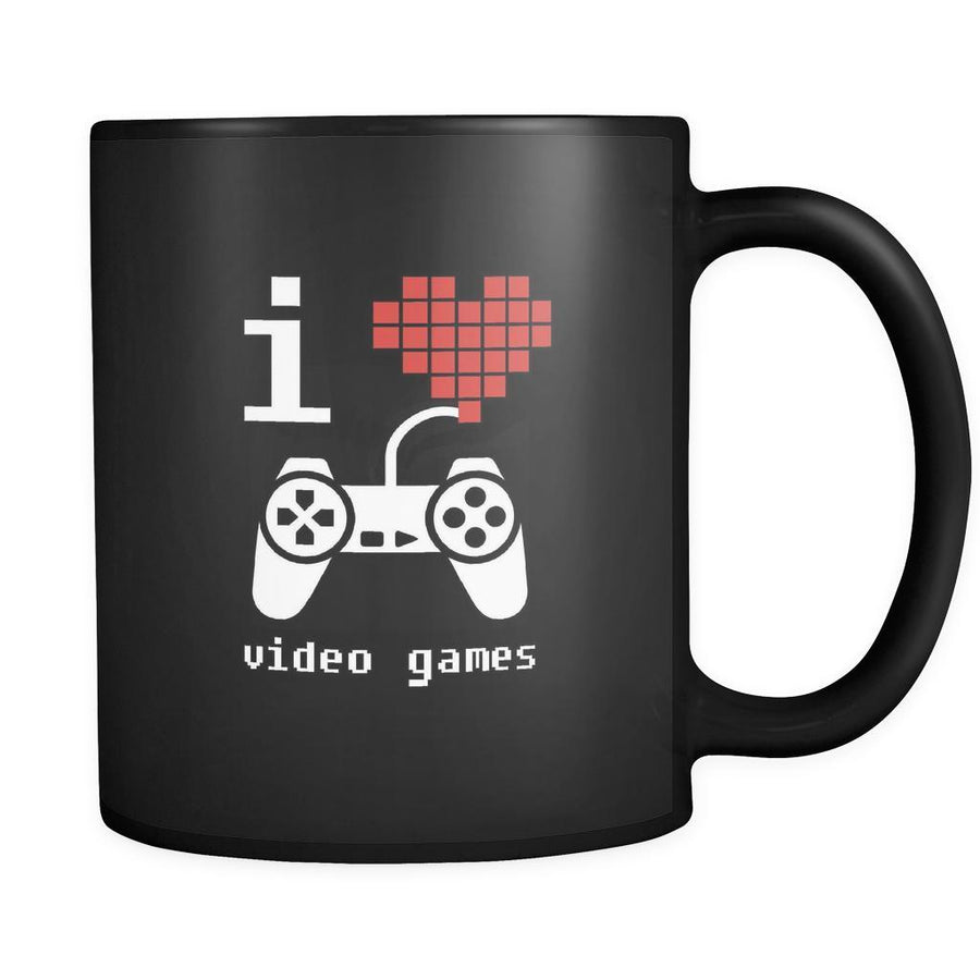 Funny I love video games 11oz Black Mug-Drinkware-Teelime | shirts-hoodies-mugs