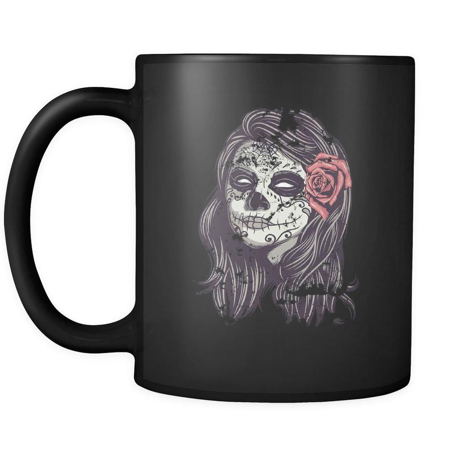Funny mug Sugar skull lady Mug 11oz Black-Drinkware-Teelime | shirts-hoodies-mugs