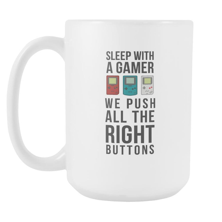 Gamer Coffee Cup - WhiteSleep with a gamer We push all the right buttons-Drinkware-Teelime | shirts-hoodies-mugs