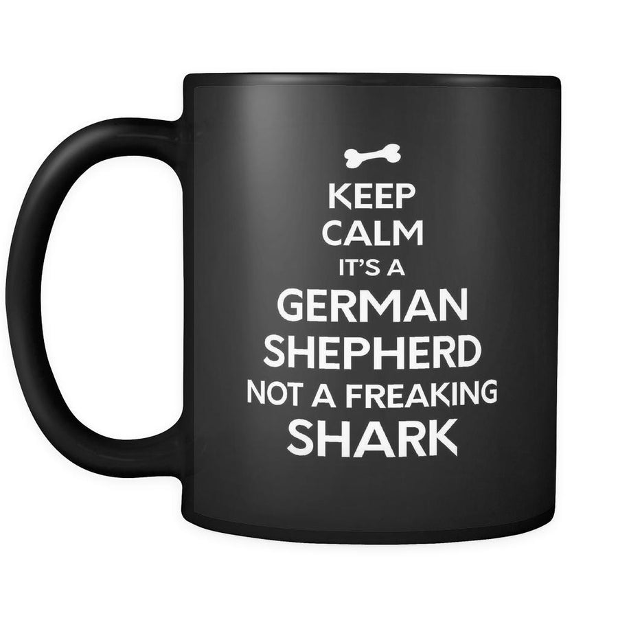 German Shepherd It's a German Shepherd Not A Shark 11oz Black Mug-Drinkware-Teelime | shirts-hoodies-mugs