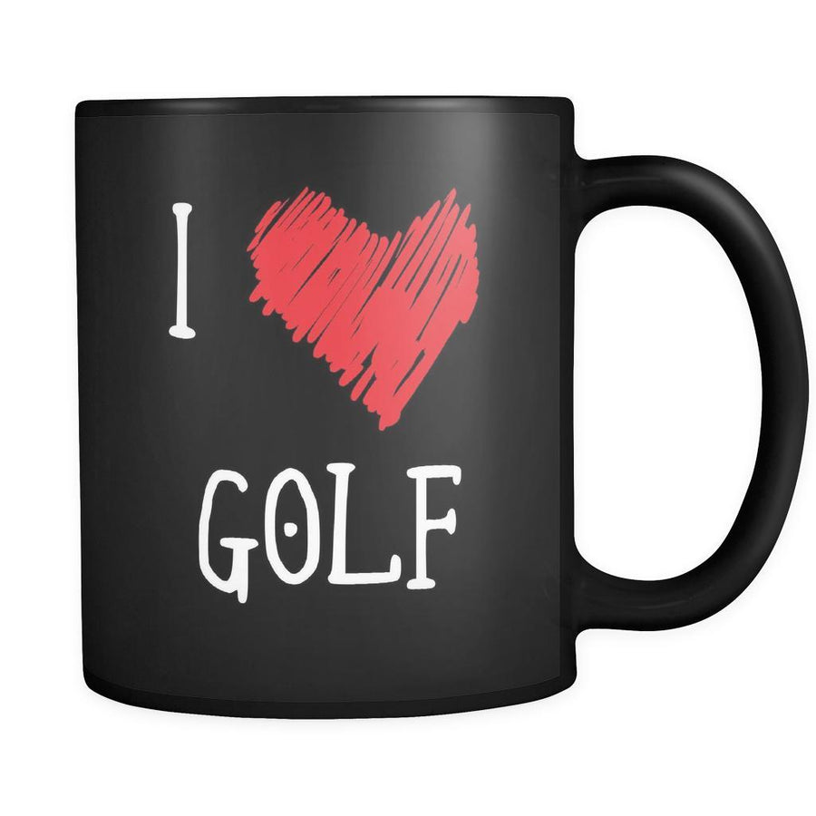 Golf I Love Golf 11oz Black Mug-Drinkware-Teelime | shirts-hoodies-mugs