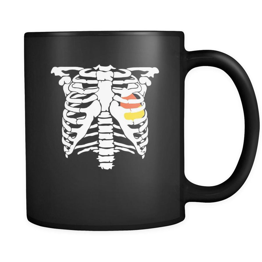 Halloween Candy corn heart 11oz Black Mug-Drinkware-Teelime | shirts-hoodies-mugs