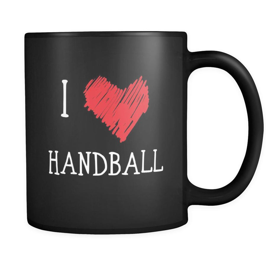 Handball I Love Handball 11oz Black Mug-Drinkware-Teelime | shirts-hoodies-mugs