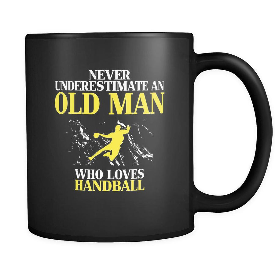 Handball Never underestimate an old man who loves handball 11oz Black Mug-Drinkware-Teelime | shirts-hoodies-mugs