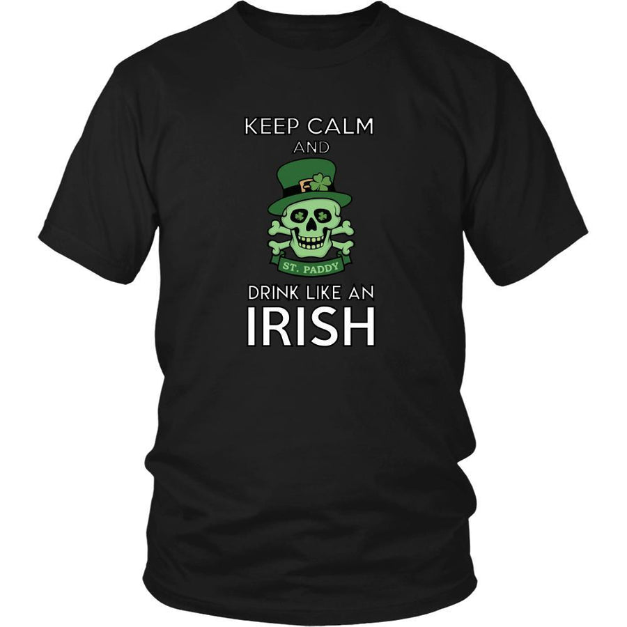 "Happy Saint Patrick's Day - "" Keep calm , Drink like an Irish "" - custom made funny t-shirts.-T-shirt-Teelime 