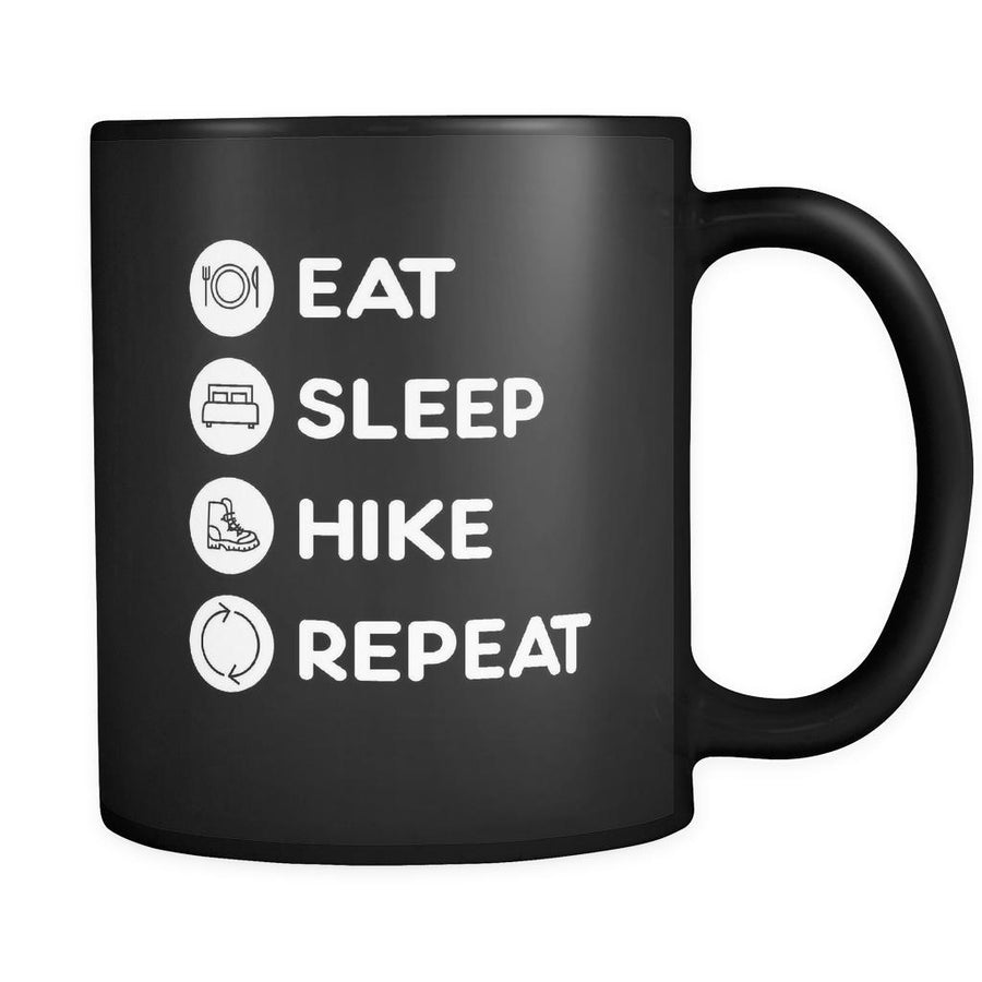 Hiking - Eat Sleep Hike Repeat - 11oz Black Mug-Drinkware-Teelime | shirts-hoodies-mugs