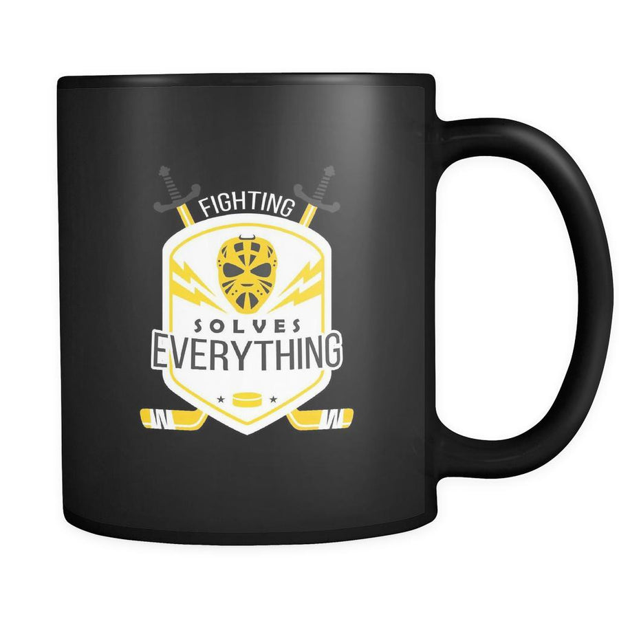 Hockey Fighting solves everything 11oz Black Mug-Drinkware-Teelime | shirts-hoodies-mugs