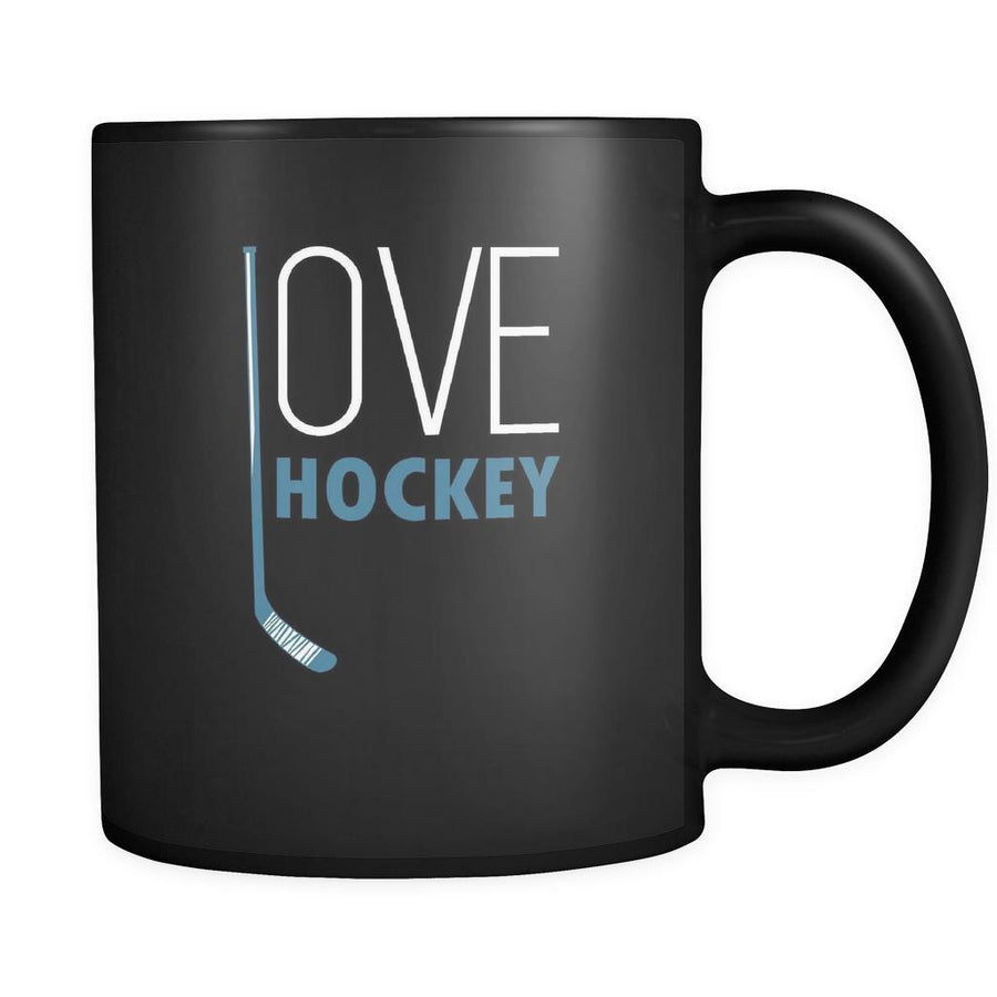 Hockey Love hockey 11oz Black Mug