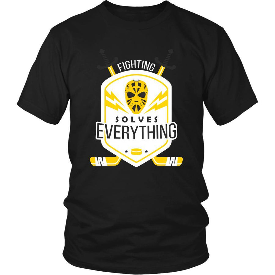 Hockey T Shirt - Fighting Solves Everything-T-shirt-Teelime | shirts-hoodies-mugs