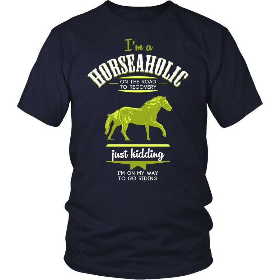 Horse T Shirt - I'm a Horseaholic I'm on my way to go riding-T-shirt-Teelime | shirts-hoodies-mugs