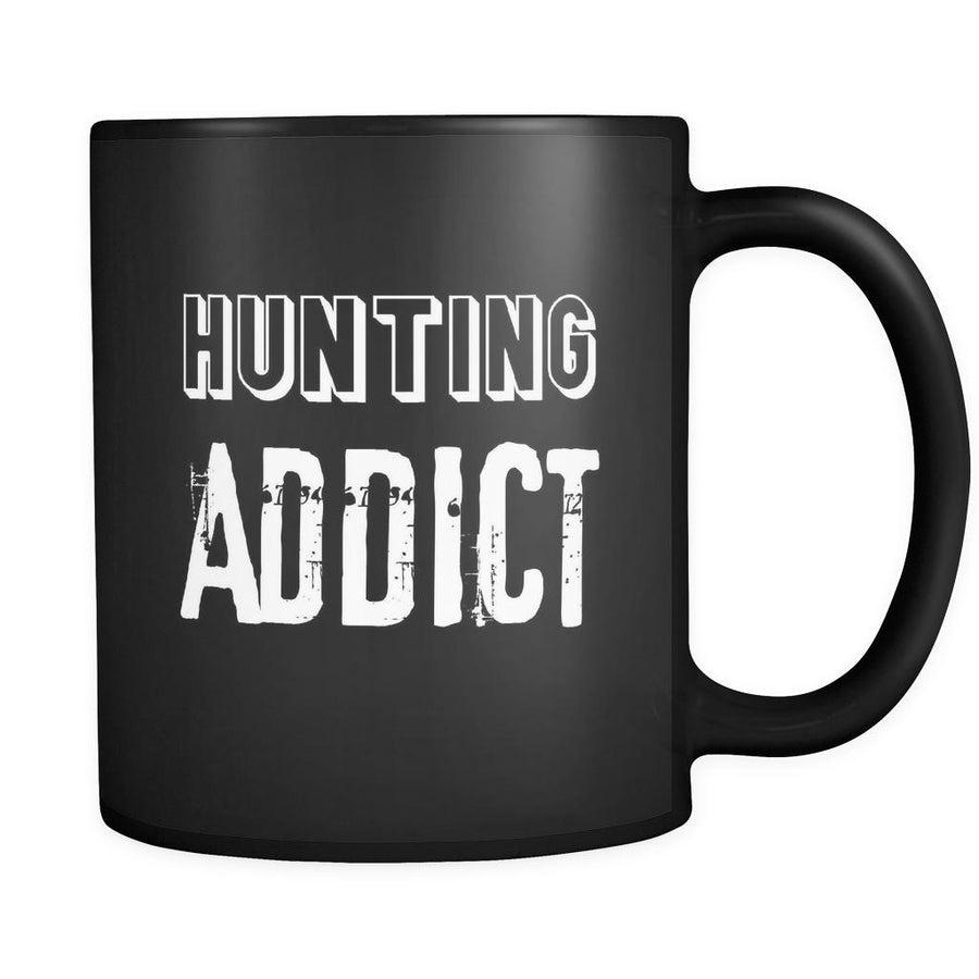 Hunting Hunting Addict 11oz Black Mug-Drinkware-Teelime | shirts-hoodies-mugs