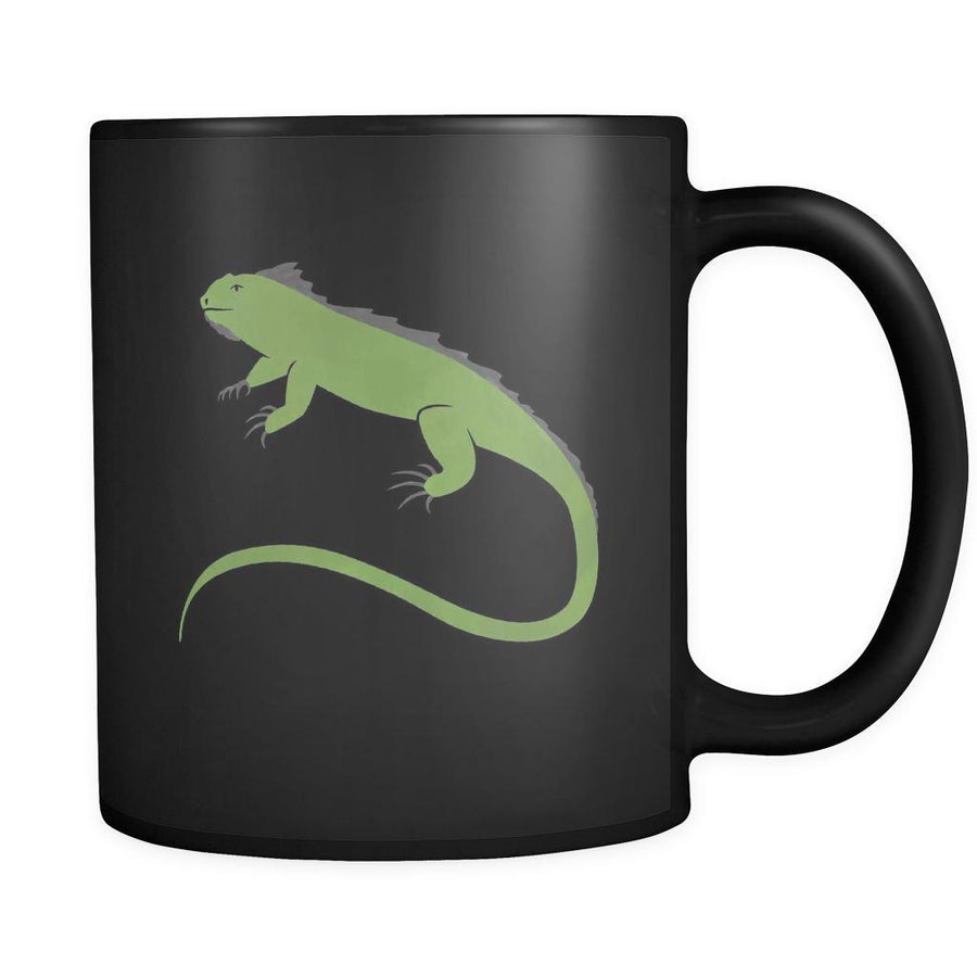 Iguana Animal Illustration 11oz Black Mug-Drinkware-Teelime | shirts-hoodies-mugs