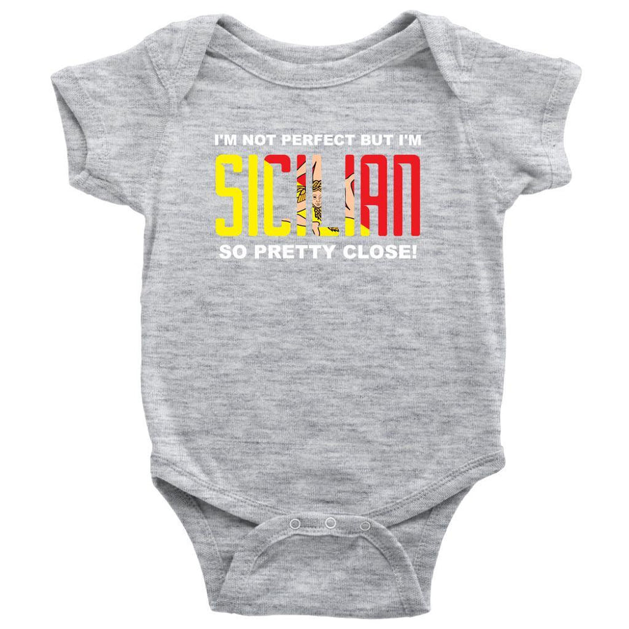 I'm not perfect but I'm Sicilian - Italian Baby Onesie-T-shirt-Teelime | shirts-hoodies-mugs