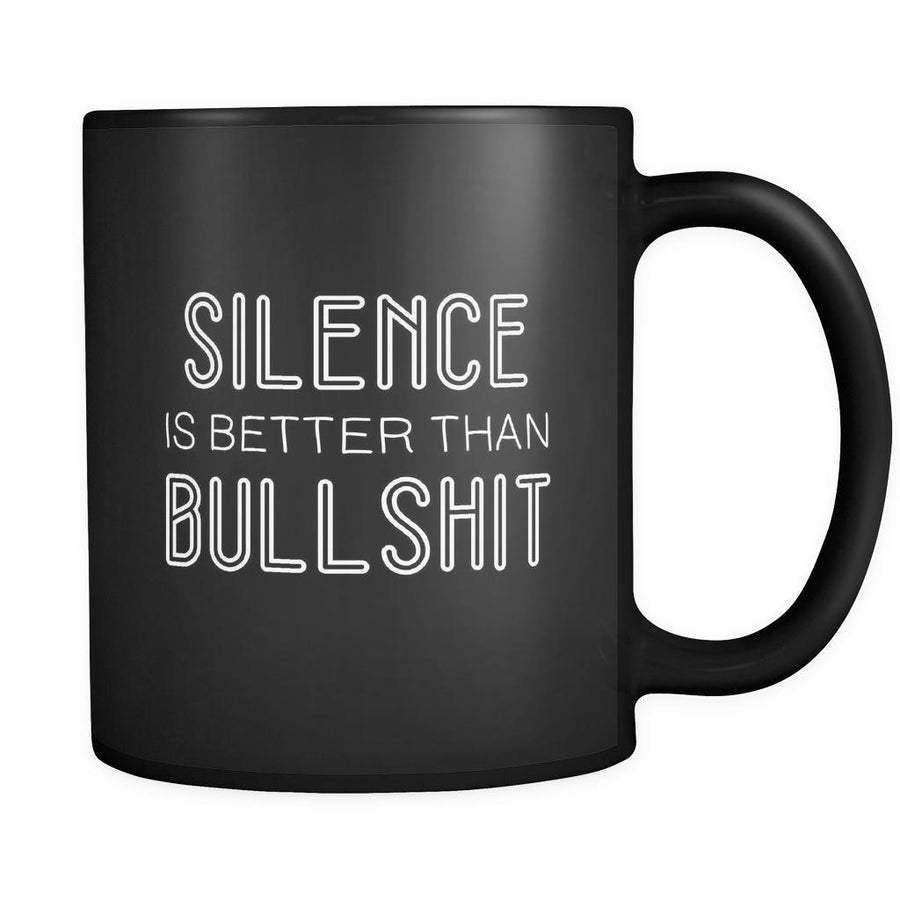 Introverts Silence Is Better Than Bullshit 11oz Black Mug-Drinkware-Teelime | shirts-hoodies-mugs