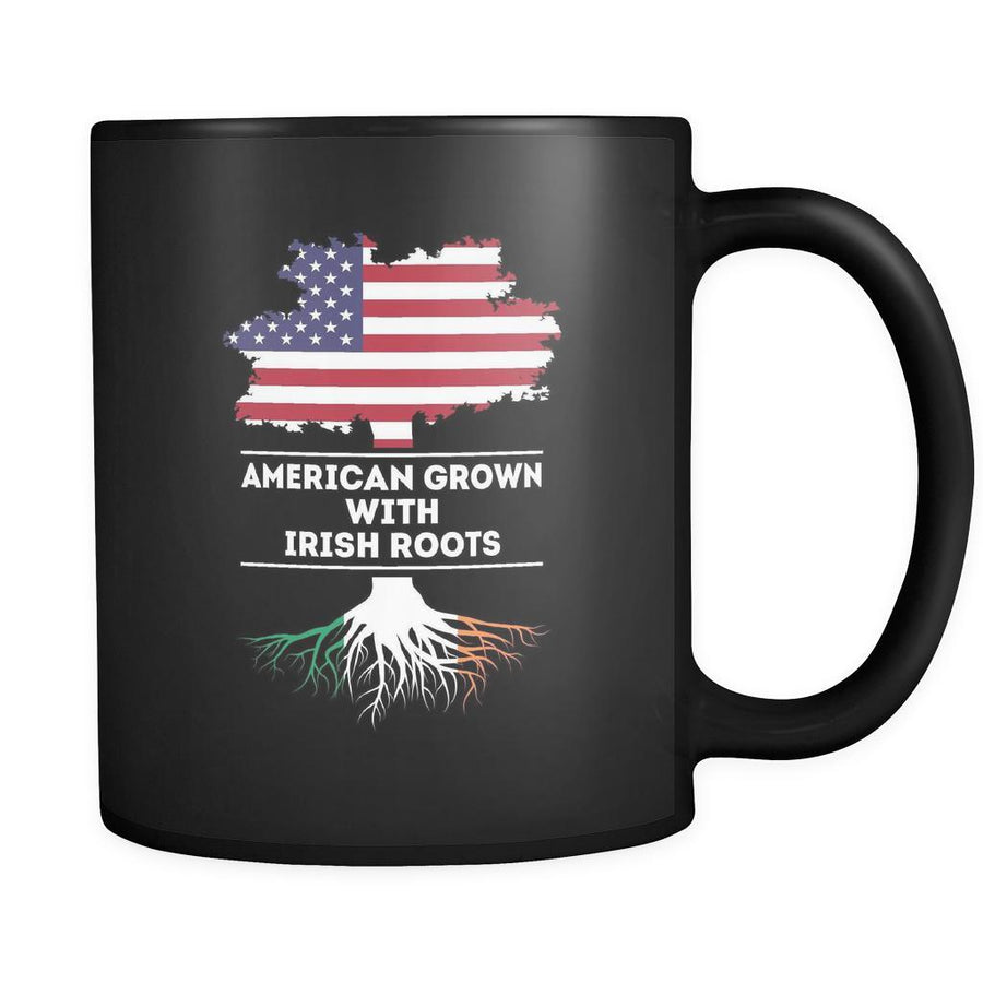 Irish roots American grown with Irish roots 11oz Black Mug