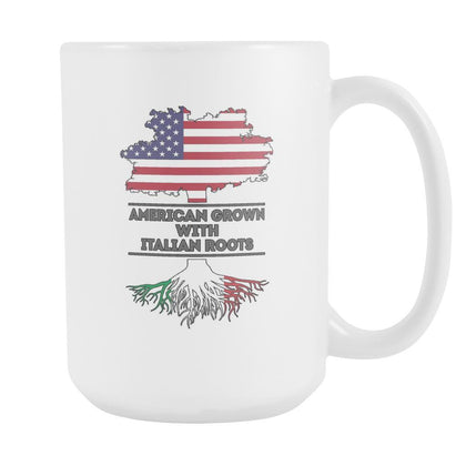 Italian mug - American grown with Italian roots 15oz White Mug-Drinkware-Teelime | shirts-hoodies-mugs