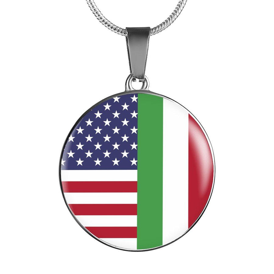 Italy Love - Proud Italian-American - Luxury Necklace Round Pendant-Jewelry-Teelime | shirts-hoodies-mugs
