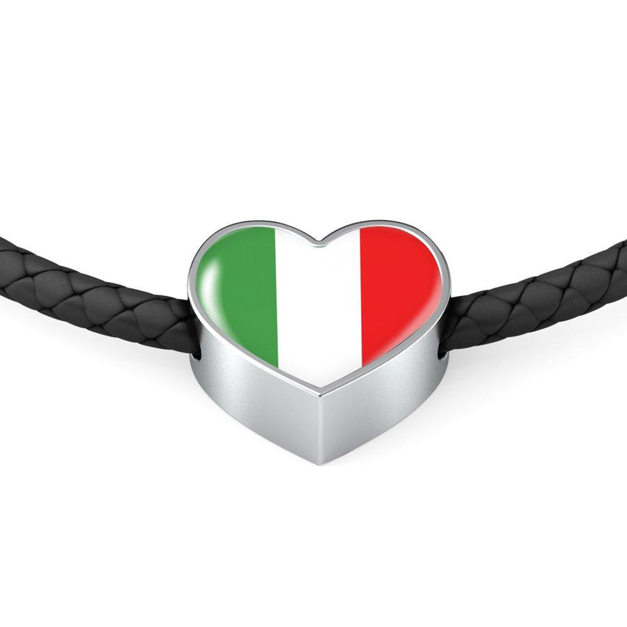 Italy Love - Proud Italian Leather Heart Charm Bracelet + Gift Box-Woven Braided Bracelet & Charm-Teelime | shirts-hoodies-mugs