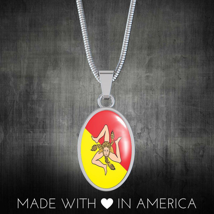 Italy Love - Proud Italian-Sicilian - Luxury Necklace Oval Pendant