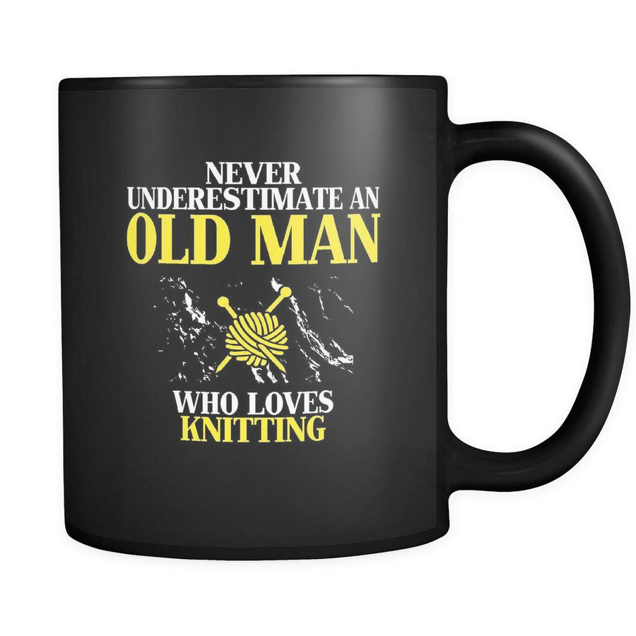 Knitting Never underestimate an old man who loves knitting 11oz Black Mug-Drinkware-Teelime | shirts-hoodies-mugs