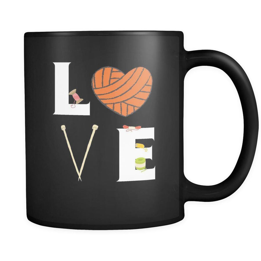 Knitting / Sewing - LOVE Knitting / Sewing  - 11oz Black Mug