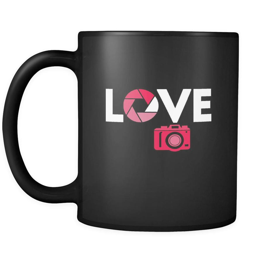 Love mug - photographers gifts photographer mug photography mugs (11oz) Black