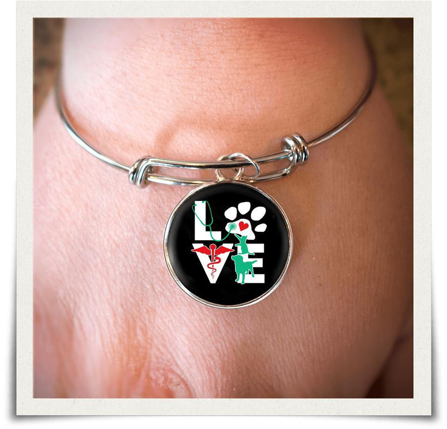 Love Veterinary dog and cat Full Color Bangle-Bangle with full color small circle attachment.-Teelime | shirts-hoodies-mugs