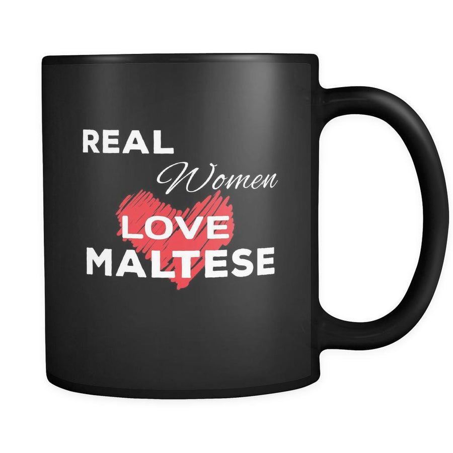Maltese Real Women Love Maltese 11oz Black Mug-Drinkware-Teelime | shirts-hoodies-mugs