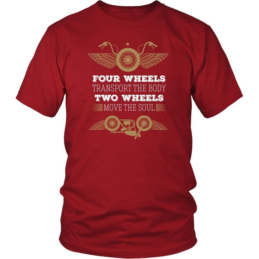 Motorcycle T Shirt - Four wheels transport the body Two wheels move the soul-T-shirt-Teelime | shirts-hoodies-mugs
