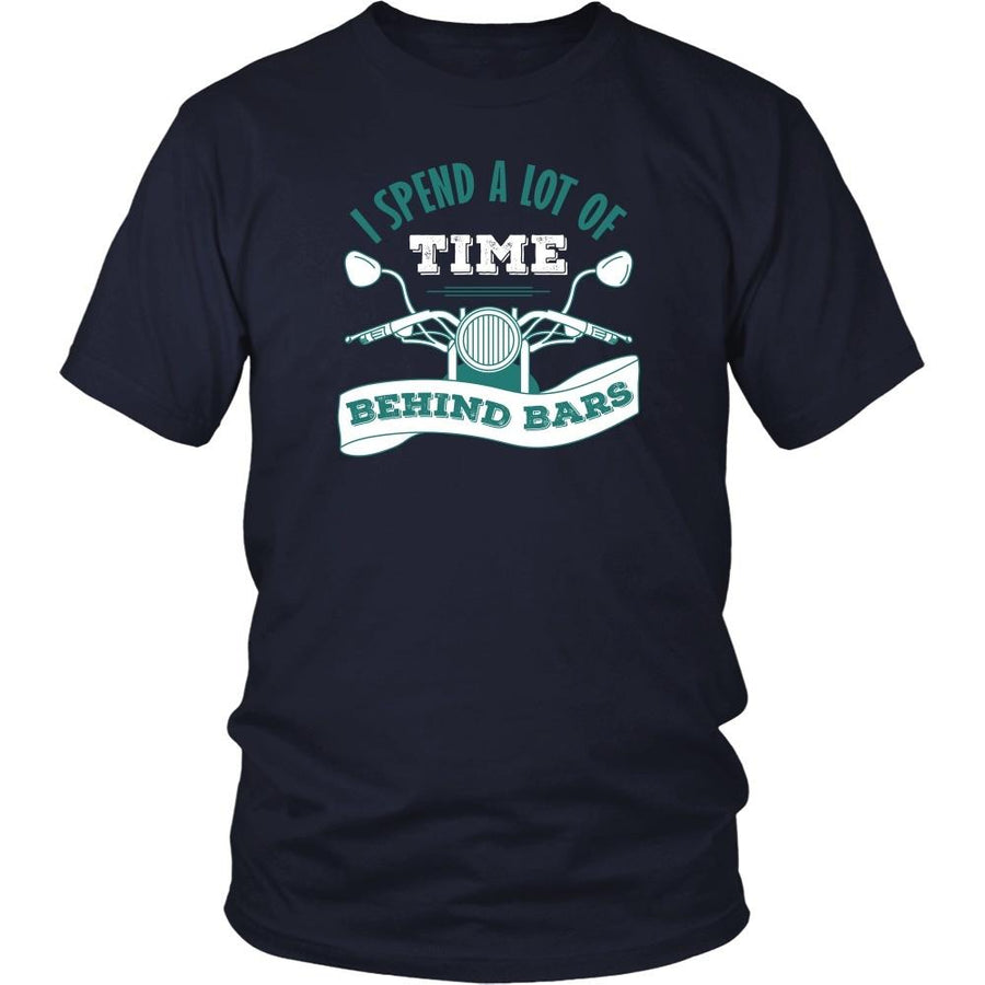 Motorcycle T Shirt - I spend a lot of time behind bars-T-shirt-Teelime | shirts-hoodies-mugs