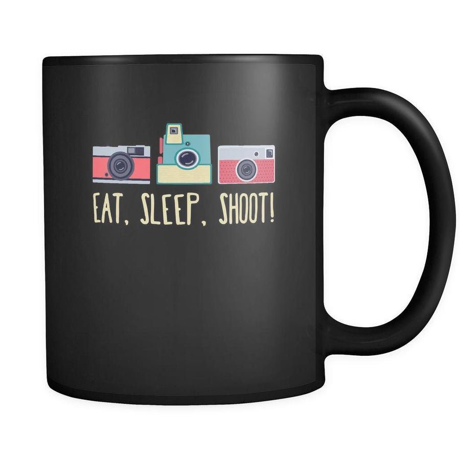 Photography Eat, sleep, shoot! 11oz Black Mug-Drinkware-Teelime | shirts-hoodies-mugs