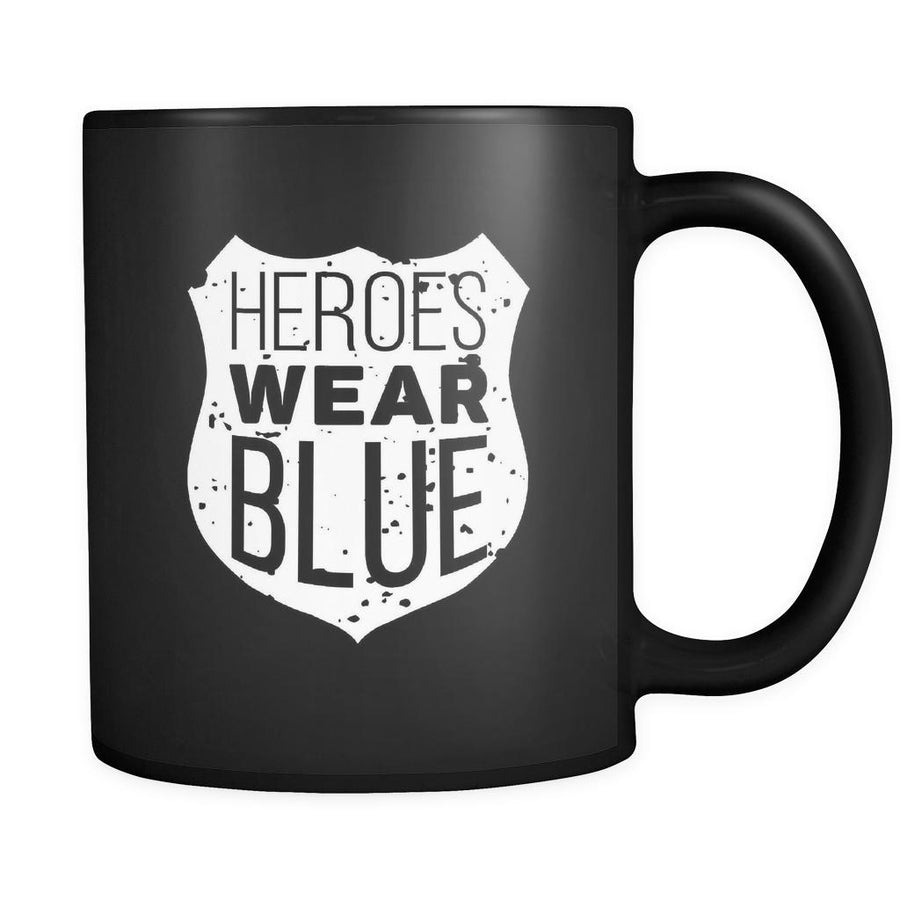 Policeman Heroes wear blue 11oz Black Mug-Drinkware-Teelime | shirts-hoodies-mugs