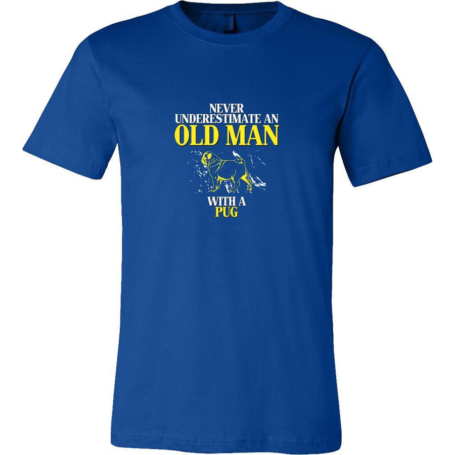 Pug Shirt - Never underestimate an old man with a Pug Grandfather Dog Gift-T-shirt-Teelime | shirts-hoodies-mugs