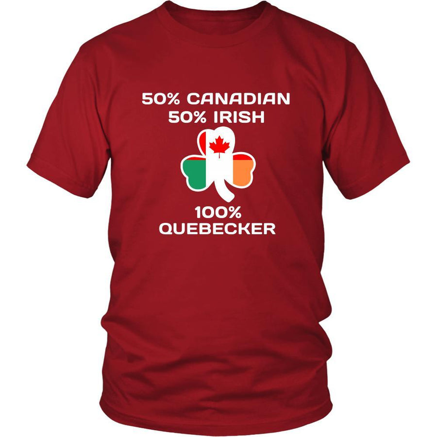 "Saint Patrick's Day - "" 100 % Quebec City Canada Irish "" - custom made  funny t-shirts."