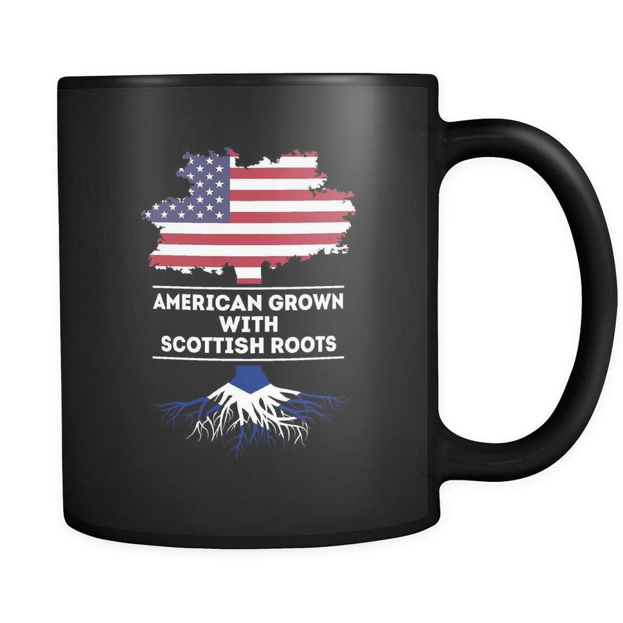 Scottish roots American grown with Scottish roots 11oz Black Mug