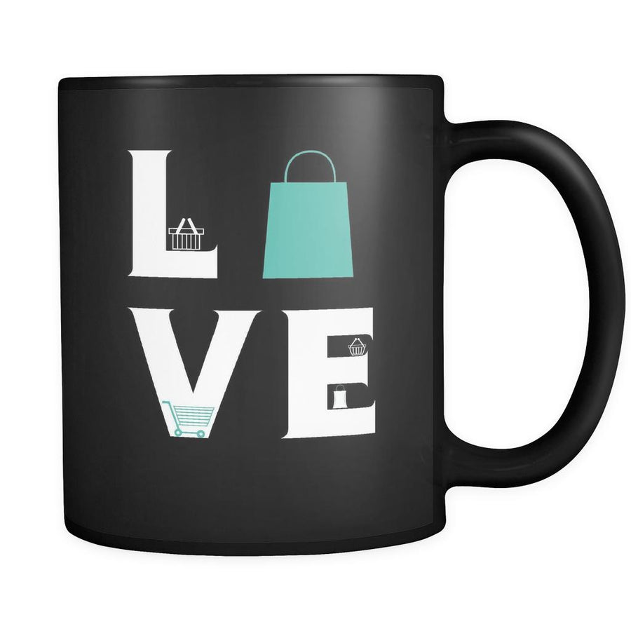 Shopping - LOVE Shopping - 11oz Black Mug-Drinkware-Teelime | shirts-hoodies-mugs