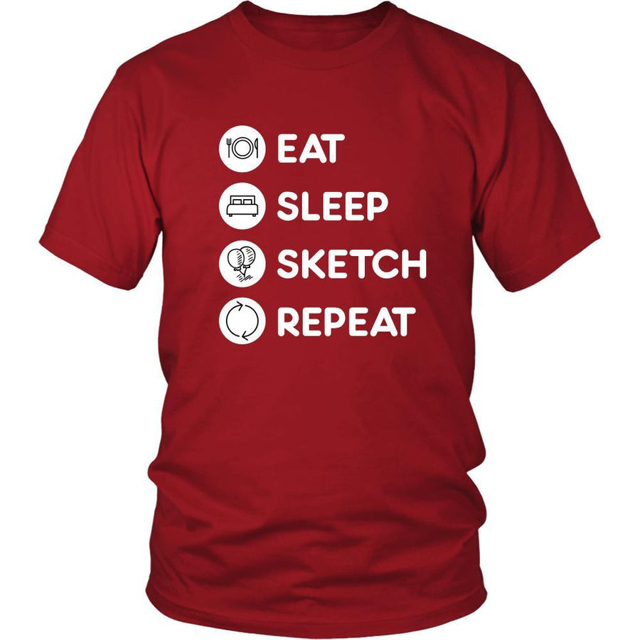 Sketching - Eat Sleep Sketch Repeat  - Sketching Hobby Shirt