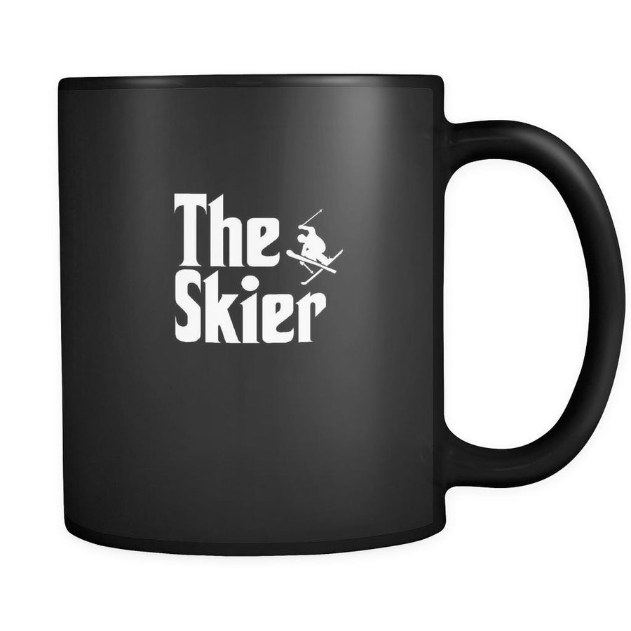 Skiing The Skier 11oz Black Mug-Drinkware-Teelime | shirts-hoodies-mugs