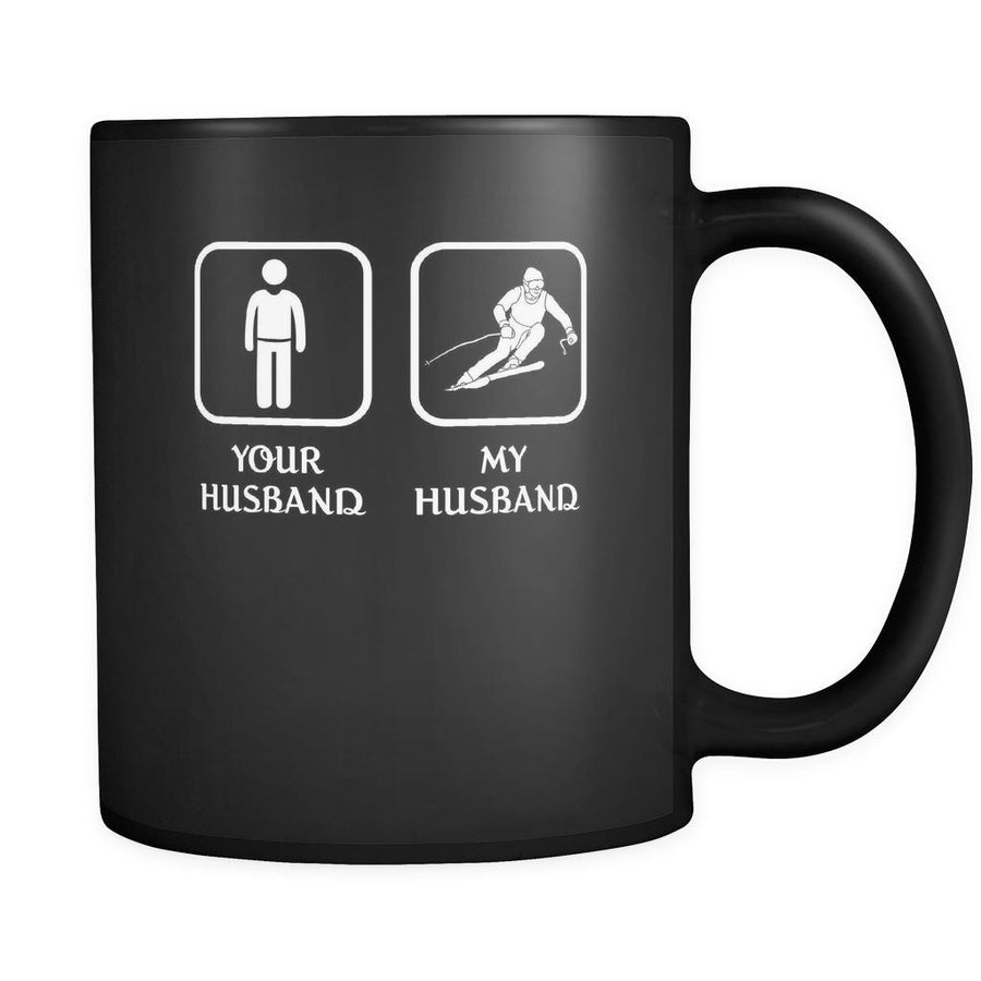 Skiing - Your husband My husband - 11oz Black Mug-Drinkware-Teelime | shirts-hoodies-mugs