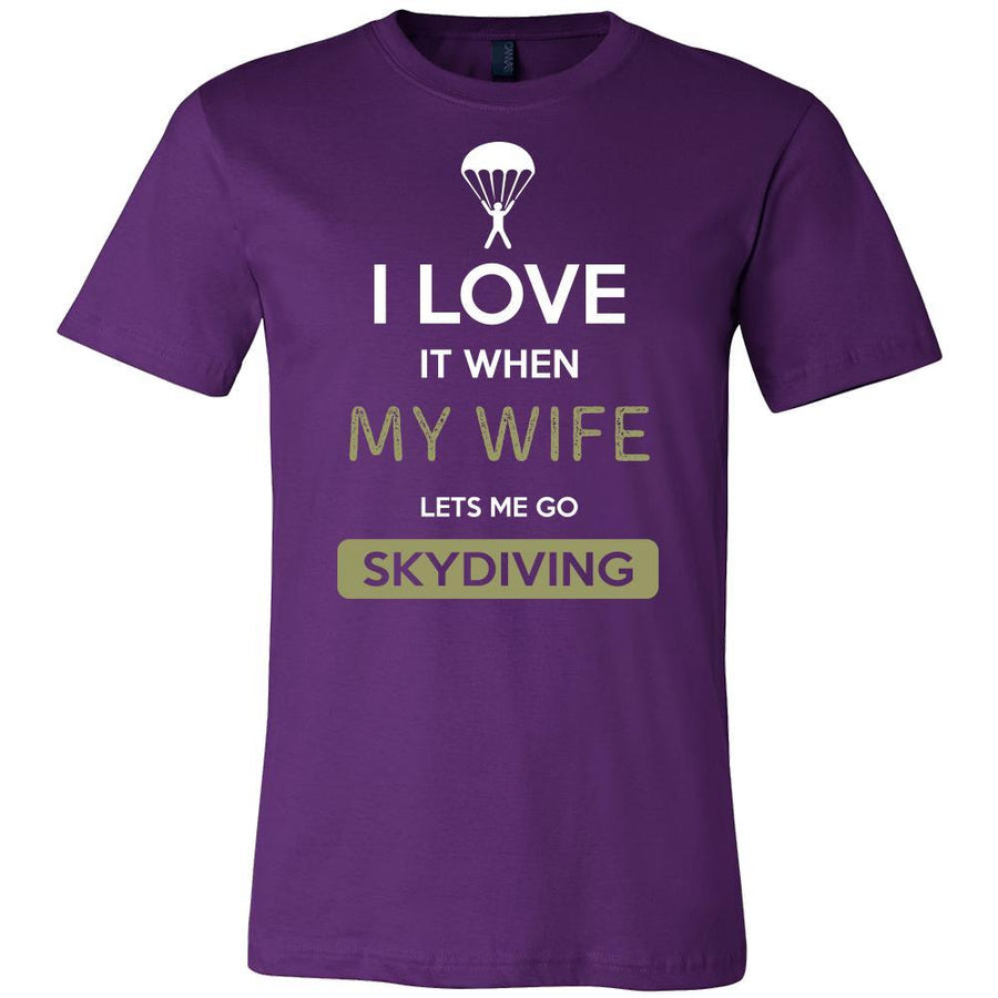 Skydiving Shirt - I love it when my wife lets me go Skydiving - Hobby Gift-T-shirt-Teelime | shirts-hoodies-mugs