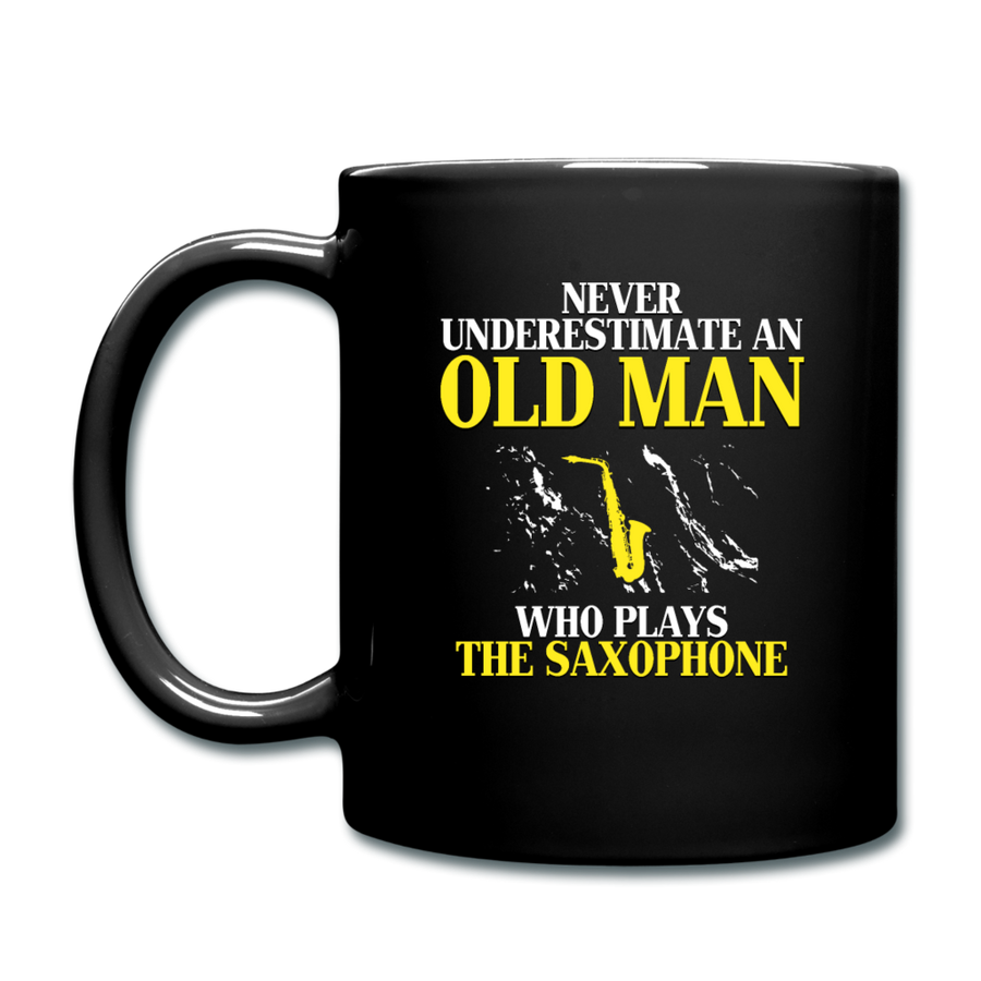 Never underestimate an old man who plays the saxophone Full color Mug