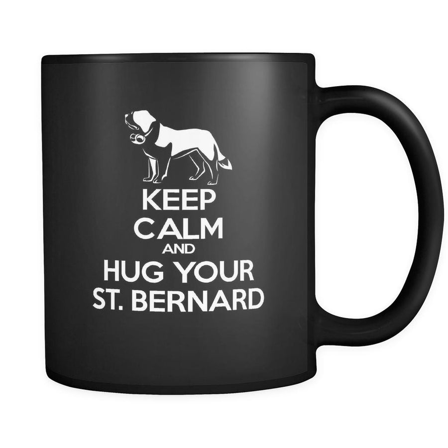 St. Bernard Keep Calm and Hug Your St. Bernard 11oz Black Mug