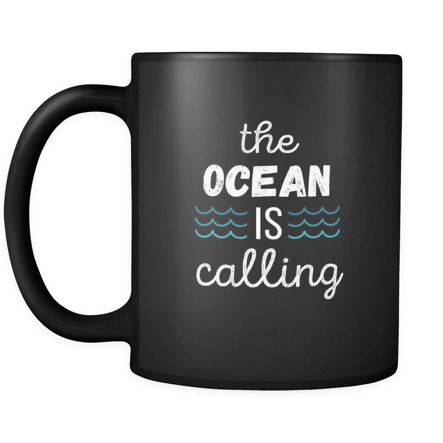 Surfing Coffee Mug Gift - The ocean is calling Surfer gift 11oz Black