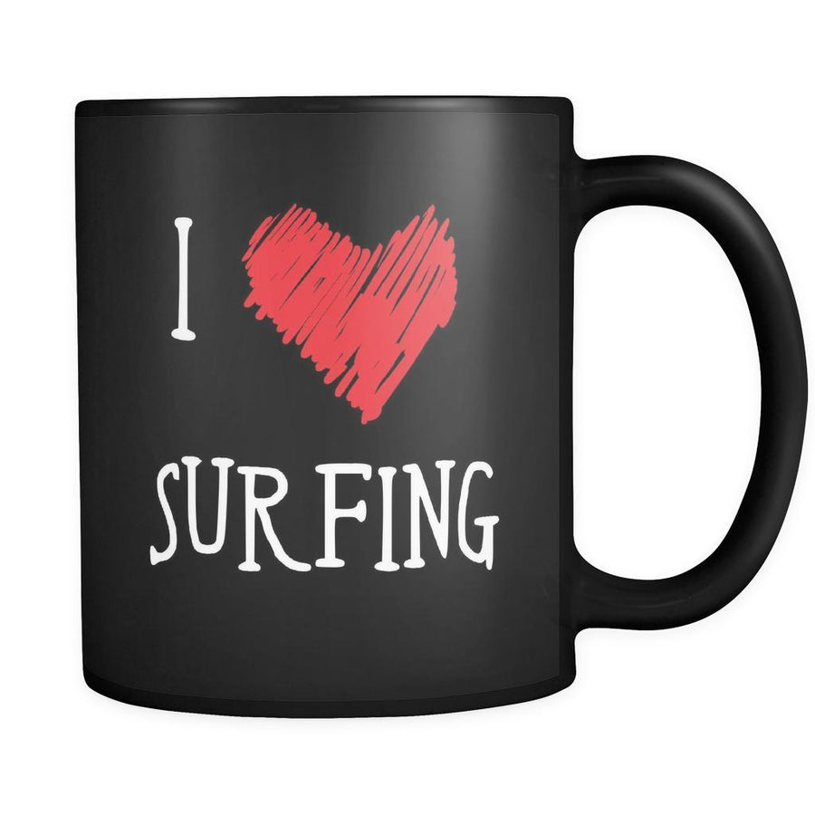 Surfing I Love Surfing 11oz Black Mug-Drinkware-Teelime | shirts-hoodies-mugs