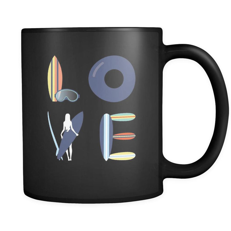 Surfing - LOVE Surfing - 11oz Black Mug-Drinkware-Teelime | shirts-hoodies-mugs