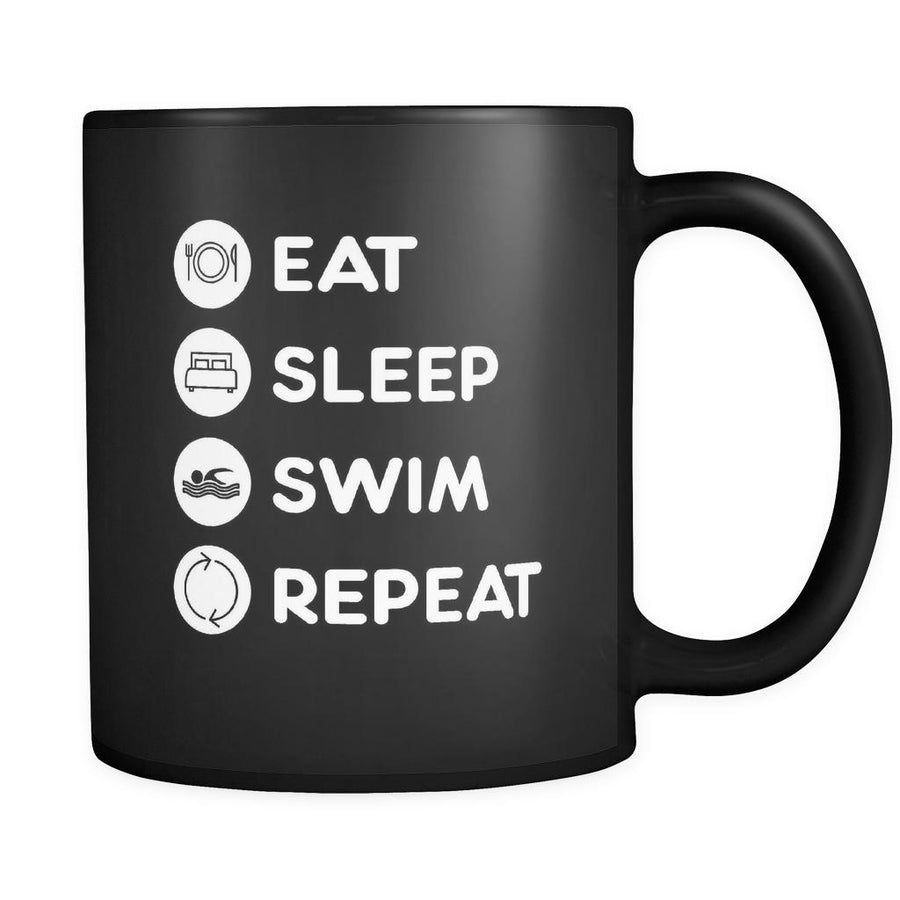 Swimming  - Eat Sleep Swim Repeat  - 11oz Black Mug