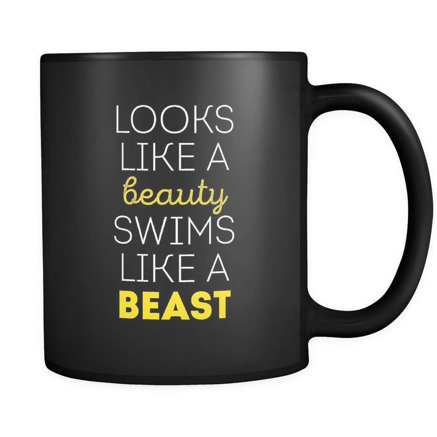 Swimming Looks like a beauty swims like a beast 11oz Black Mug-Drinkware-Teelime | shirts-hoodies-mugs